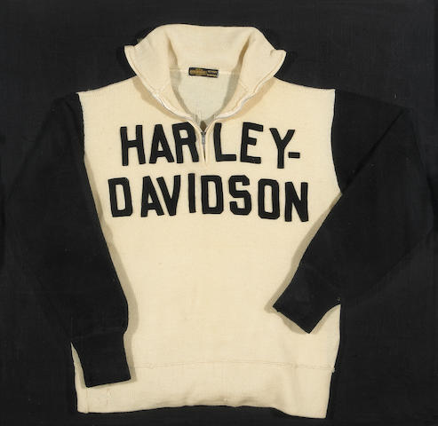 Bonhams A Vintage Harley Davidson Sweater Framed 33 X 33 X 2½in