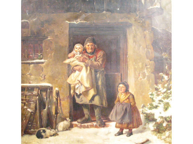 After Friedrich Bischoff (German 1819-1873) The first snow of winter 33 1/2 x 29 1/2in (unframed)