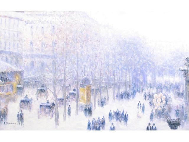 Gail Sherman Corbett (American 1871-1952) A Paris Street Scene 24 x 36in
