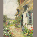 Aston Louis Knight (1873-1948) Cottage Gardens 22 x 18in