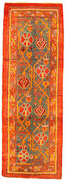 An Oushak runner West Anatolia size approximately 3ft 3in x 9ft