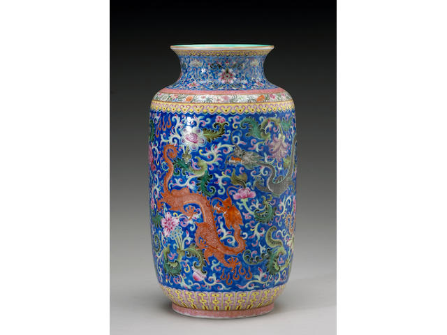 An enameled dragon vase, 19th Century or later