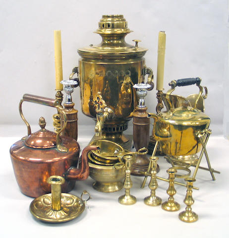 A large assembled group of brass and metalware