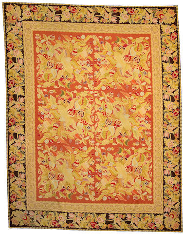 An European Needlepoint carpet size approximately 11ft 3in x 8ft 9in