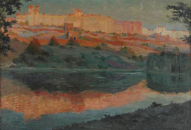 Hugo Vilfred Pedersen (Danish 1870-1959) A view of a citadel 16 1/4 x 23 1/4in