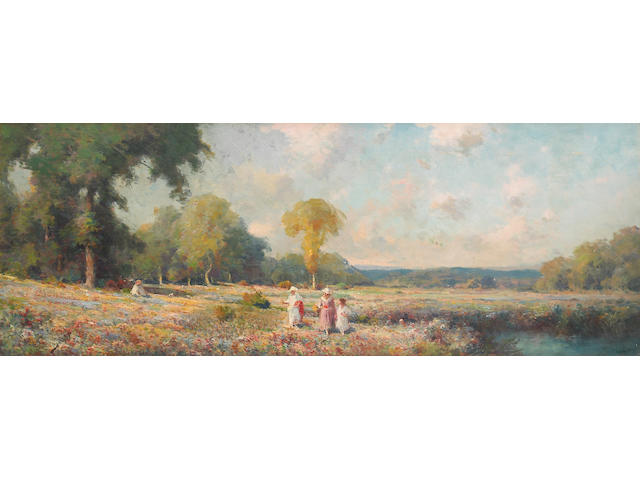 S.M. Saunders (American 20th century) Summer fields 18 x 48in