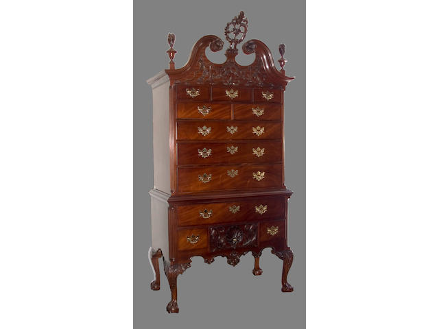 A Chippendale carved mahogany high chest of drawers