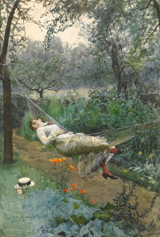 Zorn A Young lady resting in a hammock signed and inscribed Richmond and Robert pencil and watercolo