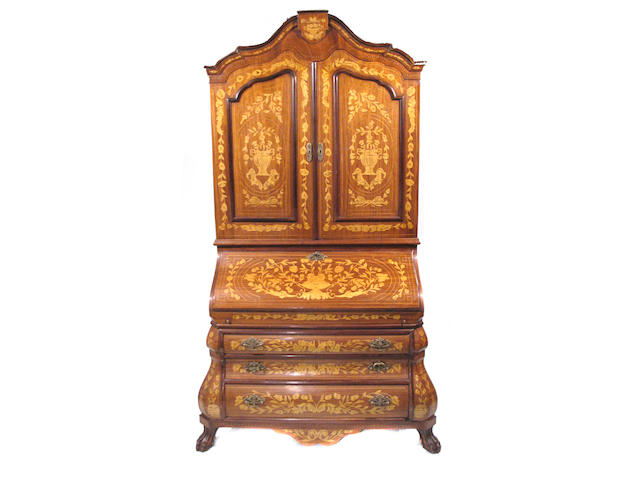 A Dutch marquetry secretary bookcase