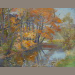 American School (20th century) Autumn Reflections 19 x 24in