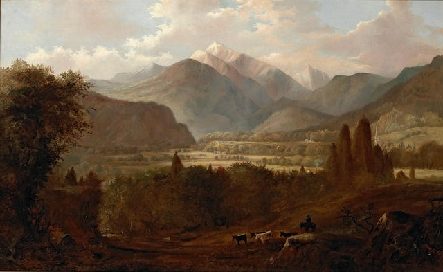 Edwin Deakin (1838-1923) A Valley Landscape with Cattle and Snow-capped Mountains Beyond 26 x 42in