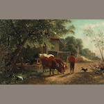 William Hahn (1829-1887) Farmer with Cattle 14 x 22in