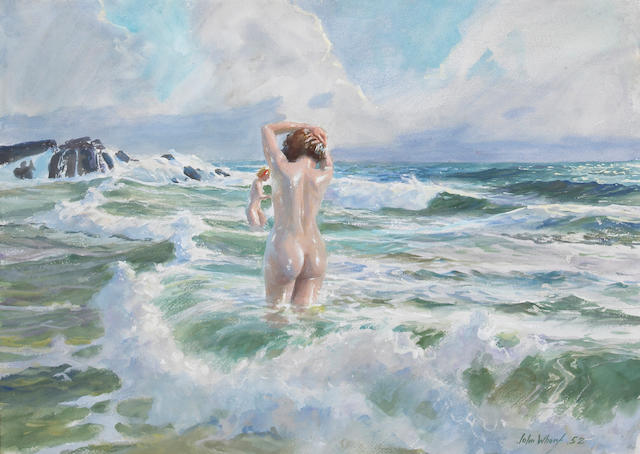 John Whorf (1903-1959) Nudes Wading in the Surf, 1952 22 1/2 x 30 3/4in