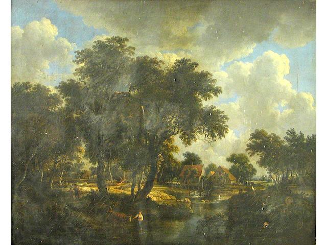 English School (18th/19th century) A wooded landscape with a watermill and figures 25 1/2 x 32in