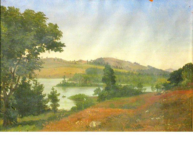 Benjamin Champney (American 1817-1907) A day on the lake, 1849 9 1/2 x 13 1/2in