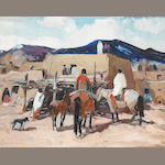 Laverne Nelson Black (1887-1938) Taos Pueblo (No. 23) 16 x 20in