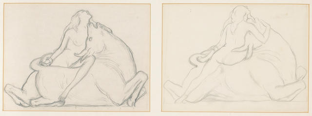 Charles Sykes (1875-1950), a pair of original pencil drawings of 'Europa and the Bull', 11 x 8in