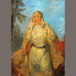 Circle of George Catlin (American 1796-1872) Indian maiden in a landscape; Indian warrior on horseback (2) first 18 x 24in; second 20 1/2 x 14 1/2in each unframed