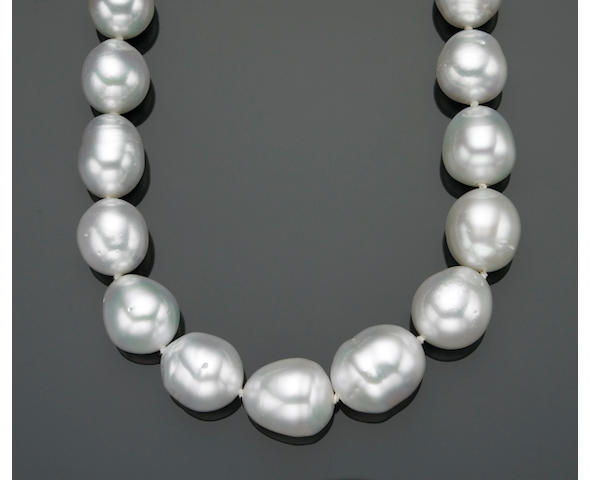 A baroque South Sea cultured pearl, diamond and fourteen karat white gold graduated necklace