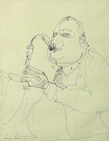 Xavier de Callatay (American 1932-1999) A saxophonist; A drummer (a pair) each, sight 10 3/4 x 8 1/4in