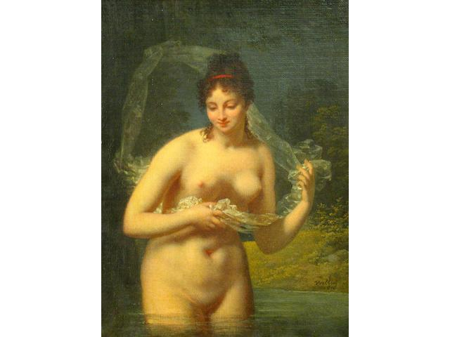 Jacques Antoine Vallin (French 1760-1831) A nymph bathing in a river 12 1/2 x 9 1/2in