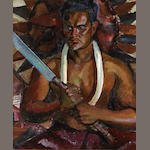 Robert Lee Eskridge (1891-1975) Hawaiian Man Holding a Machete 24 x 20in