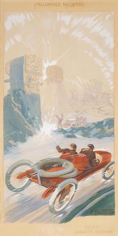 'L'Allumage moderne-magneto lavalette eiseman', after Ernest Montaut (1879-1909), 34 x 17in
