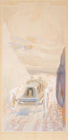 'Un Match Moderne', after Ernest Montaut (1879-1909), 34 x 17in