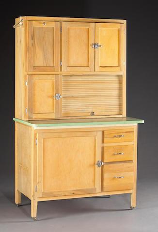 A Hoosier-style kitchen cabinet/icebox 67 x 37 x 25in