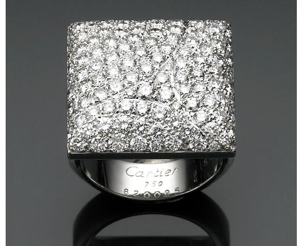 A diamond and eighteen karat white gold ring, Cartier