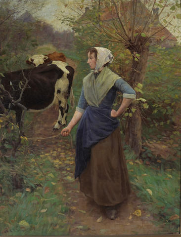 Gaylord Truesdell (1850-1899) Leading the Cattle, 1897 44 x 34in