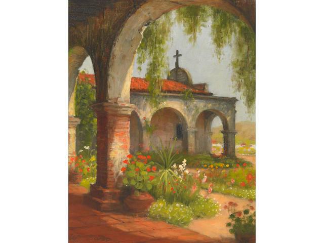 William Barr (American 1867-1933) San Juan Capistrano Chapel 14 x 11in