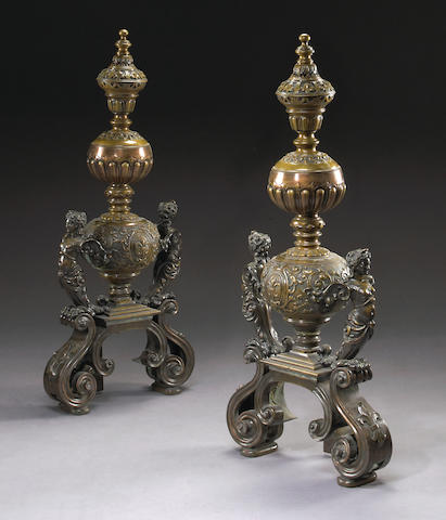 A monumental pair of French Renaissance style bronze andirons