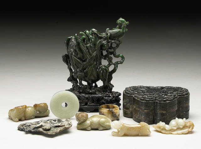 Nine soapstone and hardstone carvings