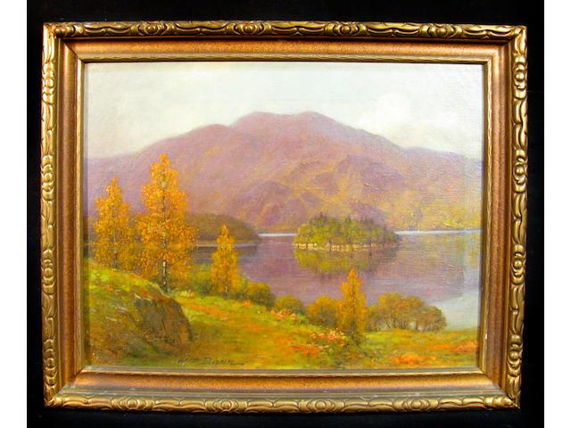 William Barr (American 1867-1933) Ellen's Isle, Loch Katrine, Scotland 14 x 18in