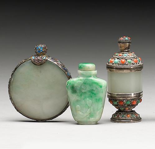 Three jade snuff bottles, two metal mounted