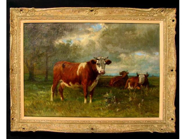 Robert Atkinson Fox (American 1860-1935) Cattle in a Meadow 24 x 36in
