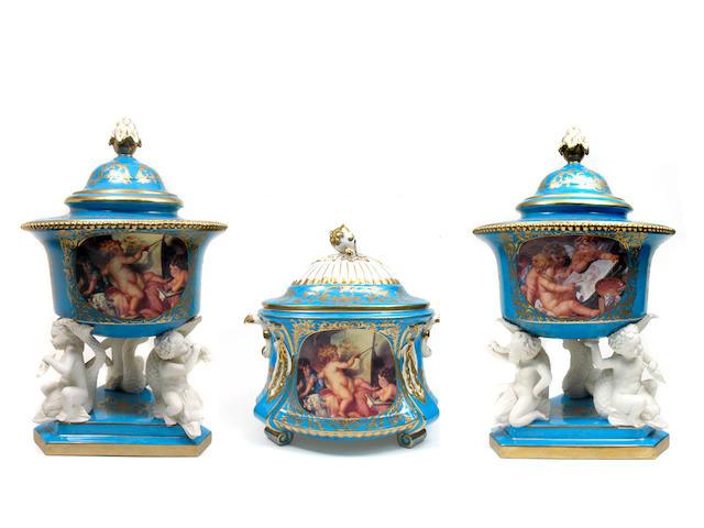 A three piece porcelain garniture