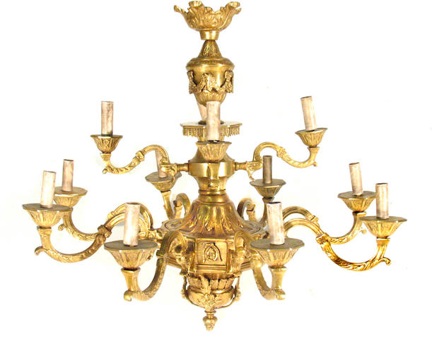 A Regency style gilt bronze twelve light chandelier