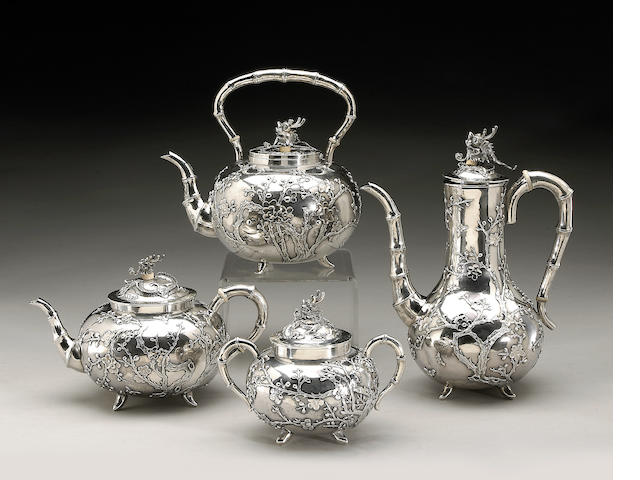 An export silver partial tea set Circa 1900
