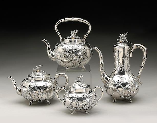 An export silver partial tea set Circa 1900