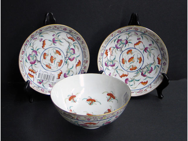 Eight polychrome enameled porcelain table wares