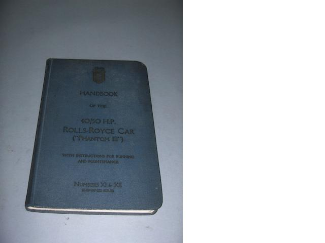 A Rolls-Royce 40/50Hp Phantom III handbook, numbers XI and XII (combined issues), 8vo