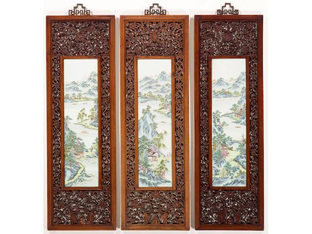 Three famille rose enameled porcelain landscape plaques