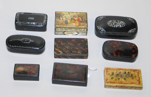 Assembled grouping of small boxes comprising 7 papier-mâché snuff boxes; polychrome decorated wood box depicting two masked figures attired for a Venetian carnival; ivory box painted with an 18th century street scene and a Chinese export ivory card case carved with a dragon