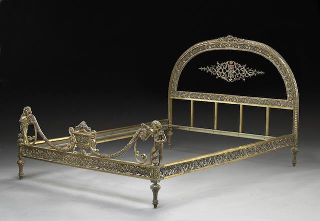 A Belle Epoque gilt bronze bed