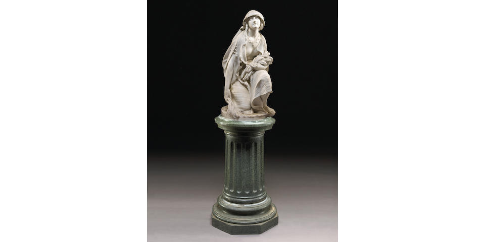 An Italian carved marble figure of Ruth By Professore Rossi for Galleria Bazzanti second half 19th century