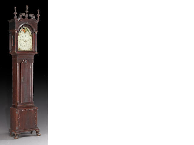 A Chippendale carved mahogany tall case clock, works signed John Fessler, Late 18th/ early 19th century