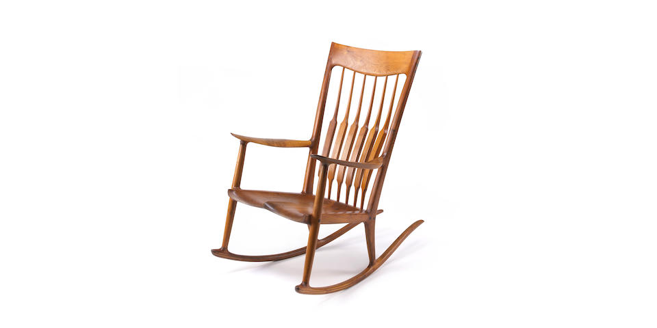 A Sam Maloof walnut rocking chair