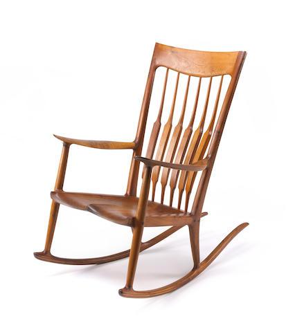 A Sam Maloof walnut rocking chair